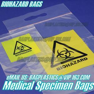 Quality Biodegradable Material LDPE Biohazard Specimen Bag with Zipper, opaque Specimen biohazard zipper bags, lab specimen zipp for sale