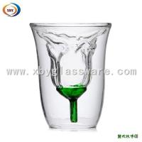 Quality Double walled glass Rose cup/lover cup for sale