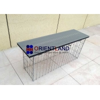 Quality Garden Wire Box Stone Box Teak WPC 3.5mm Gabion Bench Seat for sale