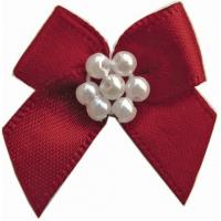 China 5cm custom satin Mini ribbon bows With Pearls high color fastness on sale