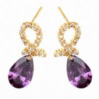 Buy cheap Fashionable earrings with CZ stone, customized designs are accepted from wholesalers