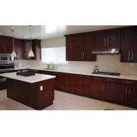 Quality Classic Solid Wood Kitchen Cupboards With Slider Basket And White Marble Countertop for sale