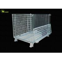 China Forklift Folding Wire Mesh Container Collapsible Corner Shelves Storage Turnover Box on sale