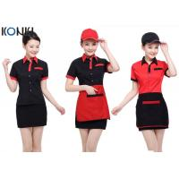 Quality Red And Black Color Restaurant Shirts Uniforms For Waitresses for sale
