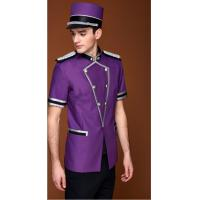 China Concierge Hotel Bellboy Uniform Purple Hotel Doorman Uniform Short Sleeve on sale