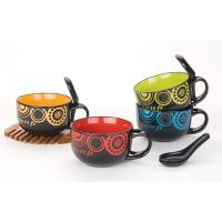 Quality 4.5 ceramic shinny color soup bowl and spoon export to saudi arabia,middle east for sale