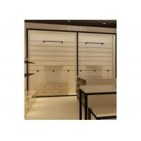 China Height 240CM  Wall Mounted Display Cabinets With Wood Shelf Metal Hanging Bar on sale