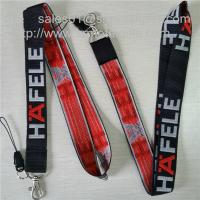 Best Promotional giveaway woven lanyard with single sided jacquard logo and metal hook, wholesale