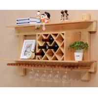 Best Wall Mounted Wooden Wine Rack And Glass Holder Cabinet , Floating Wine Glass Rack Shelf wholesale