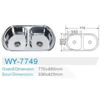 Quality double bowl Electric plating kitchen stainless 201 steel sink  cabinet  inserts for sale