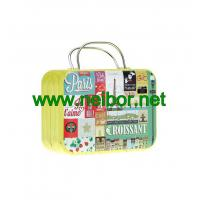 Quality gift tin suitcase tin box with handle for wedding to pack chocolate or candy for sale