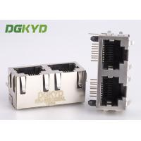 Quality Right angle PCB mount dual port combo RJ45 connector ethernet modular jack for sale