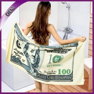 Quality 100 polyester money printed microfiber beach towelmoney beach towel for sale