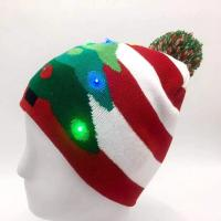 Buy cheap 6- Panel Promotional Products Caps , Mix Design Knitted Flashing LED Christmas from wholesalers
