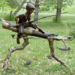 Children Metal Sculpture Life Size Bronze Casting Fishing Boy Garden Statue