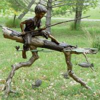 Quality Children Metal Sculpture Life Size Bronze Casting Fishing Boy Garden Statue for sale