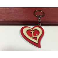 Quality love wood gift heart shape keychain letter L Key Chain tag for sale