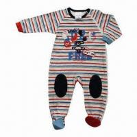 Quality Long-sleeved Baby Romper, Made of 200g Interlock and 100% Cotton for sale