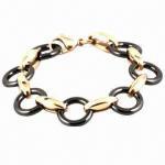 Quality Elegant Stainless Steel Ceramic/Leather Wrap Bracelet, Eco-friendly for sale