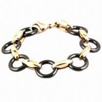 Buy cheap Elegant Stainless Steel Ceramic/Leather Wrap Bracelet, Eco-friendly from wholesalers