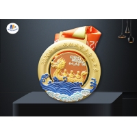 Dragon Boat Competiton 3D Relief Medal With Colors Painting for sale