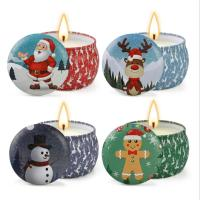 Quality Scented Soy Wax Cute Pattern Christmas Tin Candles Jar With Metal Lid Lightweight for sale