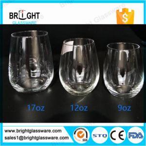 Best glass cups manufacturers 9OZ 12OZ 16OZ blown stemless wine glass wholesale