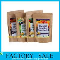 Quality Healthy Food Powder Packaging , Kraftpaper Stand Up Pouches With Resealable Ziplock for sale