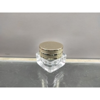 China 15g clear bottle cream jar with aluminum cap, Cosmetic Packaging, glass Cream Bottles,Various color,OEM on sale
