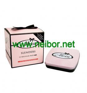 Quality custom order mini size hinged lid sanitary pad tin box for sale