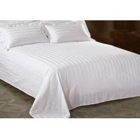 Quality White Cotton King Bed Sheet With Jacquard Stripe For Star Hotel for sale