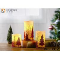 China S/3 Glittering Christmas Tree Decorative Candles LED Christmas Pillar Candles on sale