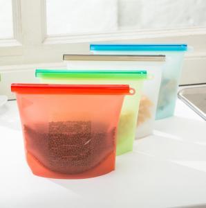 Quality custom printed FDA reusable cooking silicon freezer bags /reusable silicone food storage bag for sale
