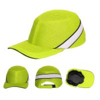 Buy Baseball Style Head Protection Caps CE EN812 Fluorescent Green Hi Vis Safety at wholesale prices