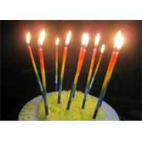 Best Color Gradient Long Thin Birthday Cake Candle Blue Green Yellow Red Orange Paraffin wholesale