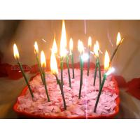 Best Dark Green Sparkling Birthday Cake Candles With Shimmer Sizzle , Slim 24pcs Candles wholesale