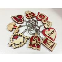 Quality wood promotional gifts mini wood keychain letter key chain heart shaped crafts for sale