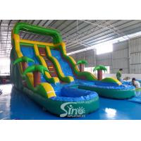 Quality 17' ocean wavy commercial inflatable water slide with pool made of lead free pvc tarpaulin for sale