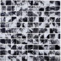China Black & white hand painted glass mosaic popular design swimming pool mosaic tiles on sale