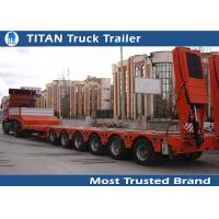 China Hydraulic equipment 6 axle trailer lowbed , red drop bed low loader trailer on sale