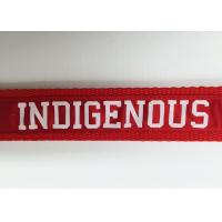 Red Background Custom Woven Lanyard Sublimation Recyclable White Logo