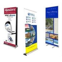 China Portable anodized silver finish aluminum alloy 80cm width 200cm height Roll up Banner Stands  on sale