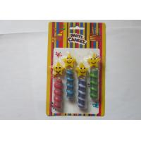 Best Disaposable Spiral Star Shaped Birthday Candles Smiley Face Pattern SGS Approval wholesale