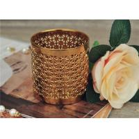 Quality Golden Pottery Home Decor Candle Holders Glazing Outside And Inside Wall for sale