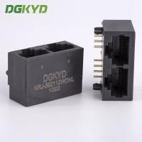 Quality 21.3mm Side Entry Tap Down 2 Port RJ45 Modular Jack Without Transformer for sale