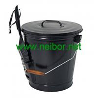 Quality matt black color powder coated galvanized steel coal bucket scuttles with lid and shovel for sale