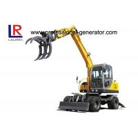 China 0.3CBM 8.3 Ton Heavy Construction Machinery / Wheeled Mini Excavator With Sugarcane Grapple on sale