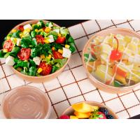 Quality Disposable printed take away paper salad bowl with plastic lid brown kraft paper for sale