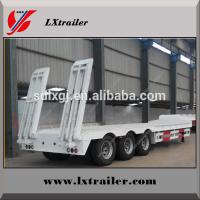 China Gooseneck low bed semitrailer truck 3 axles with ramp on sale on sale