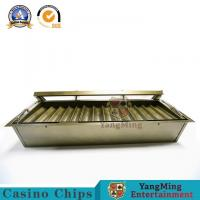 China Factory Supply 15 Rows Bright Gold Color 2 Layer Gambling Chips Float Double Lock Chips Metal Chips Case With Lock on sale